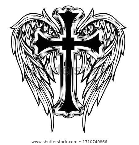 クロス 翼 入れ墨 天使 神 図面 ストックフォト © creative_stock