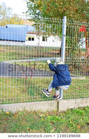 Young Boy climbing a fence Stock photo © michey
