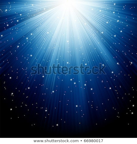 Snow and stars are falling on blue rays. EPS 8 Stock photo © beholdereye