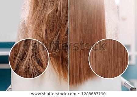Groot haren mooie vrouw lang steil haar naar Stockfoto © jayfish