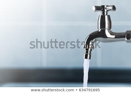 Foto stock: Agua · aislado · blanco · metal · acero · mezclador