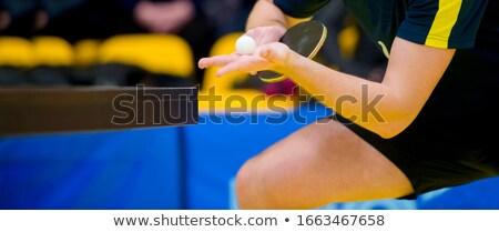 portré · fitt · nő · sportruha · tart · teniszütő - stock fotó © dash