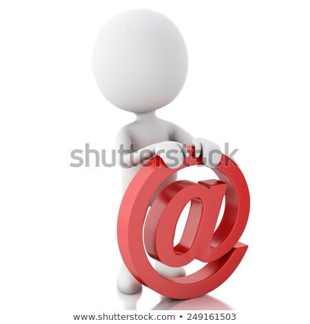 3d emberek piros email ikon fehér üzlet Stock fotó © Quka