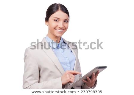 側面図 女性の笑顔 見える カメラ 白 幸せ ストックフォト © wavebreak_media