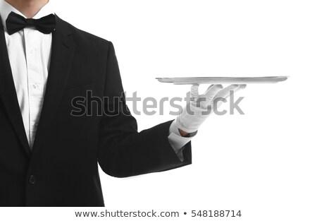 Cameriere suit argento vassoio felice Foto d'archivio © wavebreak_media