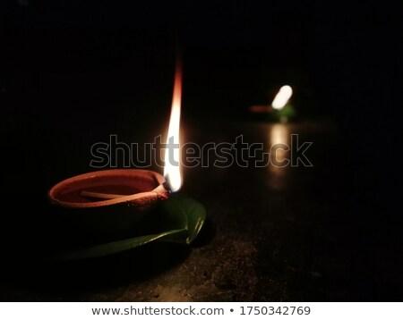 Buddhista olaj lámpák égő templom piros Stock fotó © bbbar