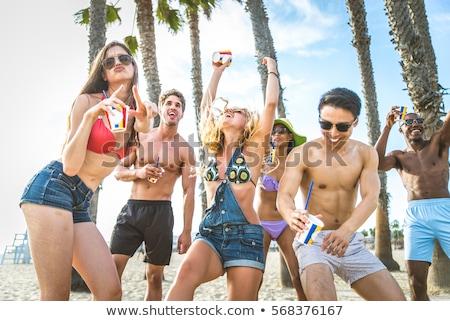 Tavaszi szünet tengerpart koktélparti szórólap terv eps Stock fotó © limbi007