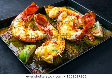 Lagosta camarão cauda branco prato mesa de jantar Foto stock © dbvirago