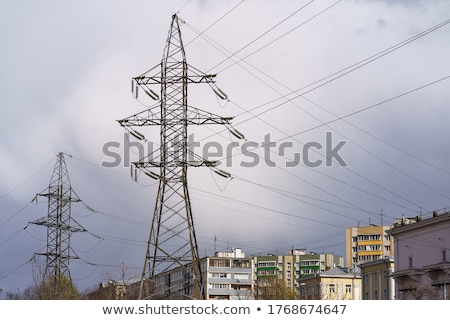 Skyscraper Tops & High Voltage Power Line Stock photo © eldadcarin