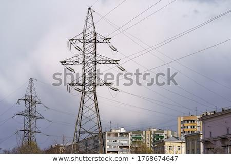felhőkarcolók · három · nagyfeszültség · elektromosság · gyönyörű · kék - stock fotó © eldadcarin