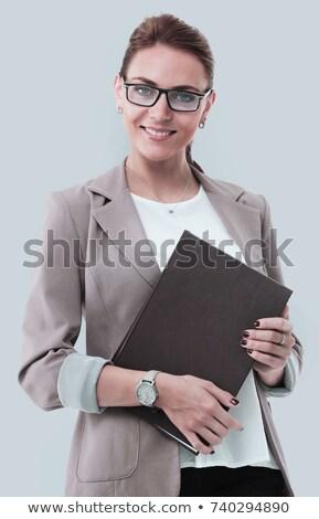 retrato · bastante · jóvenes · mujer · de · negocios · pie · blanco - foto stock © HASLOO