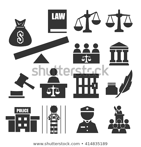 crime · justice · icônes · juge · échelle · empreintes - photo stock © carbouval