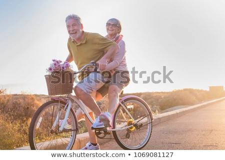 fitt · csinos · kerékpáros · terep · napos · idő · boldog - stock fotó © nobilior