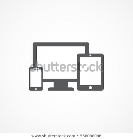 Komputera urządzenie ikona telewizji technologii monitor Zdjęcia stock © carbouval