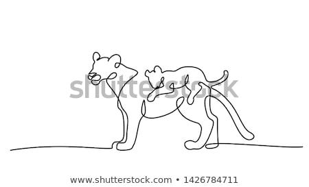 силуэта ребенка животного вектора семьи ребенка Сток-фото © serdjo