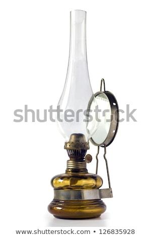 ストックフォト: 古い · 石油ランプ · ミラー · 孤立した · 白 · 光