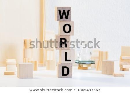 Biologie woord wereld symbool vector groene Stockfoto © burakowski