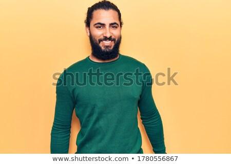 jóvenes · moda · hombre · largo · barba · riendo - foto stock © feedough