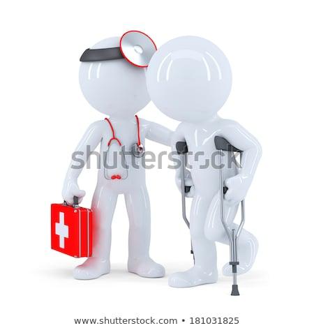 Terapeuta estetoscópio homem muletas isolado branco Foto stock © Kirill_M