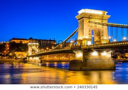 Сток-фото: Chain Bridge Over Danube River Budapest Cityscape
