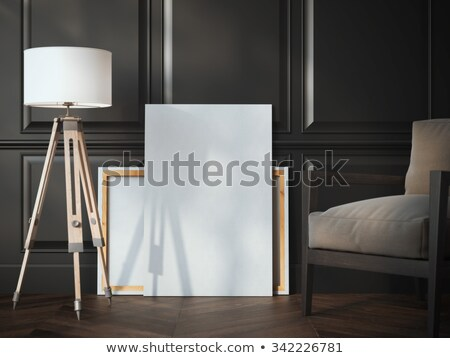 black gallery room with classic blank frame and armchairs stock photo © vizarch