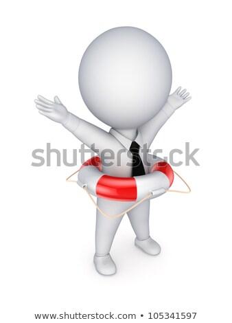 3D небольшой люди человек Постоянный спасательный трос Сток-фото © AnatolyM