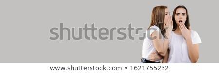 Een brunette meisje praatjes ander geïsoleerd Stockfoto © Nejron