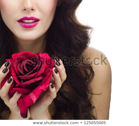 美しい 小さな ブルネット 女性 赤いバラ 黒白 ストックフォト © jeffbanke