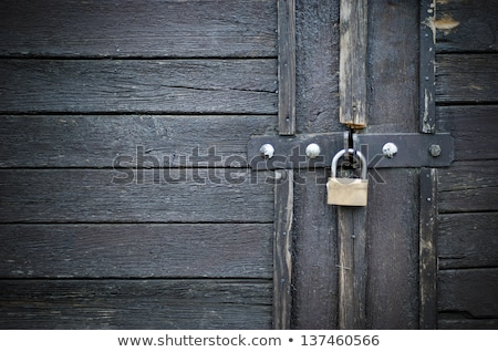 old rusty padlock on wooden door Stock photo © Mikko