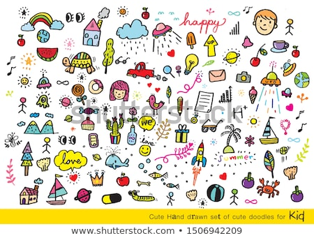 Doodle ensemble cute dessins enfants animaux Photo stock © zsooofija