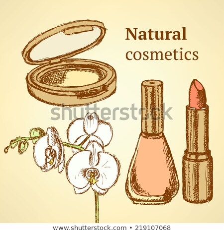 sketch beauty equipment with orchid stock photo © kali