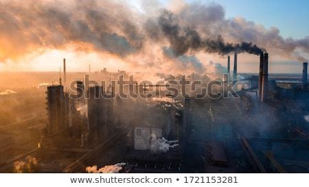 Сток-фото: завода · опасный · Трубы · красивой · закат · облака