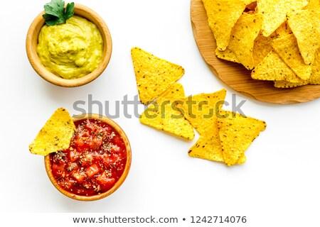 Nachos tigela mesa de madeira abacate Foto stock © nito