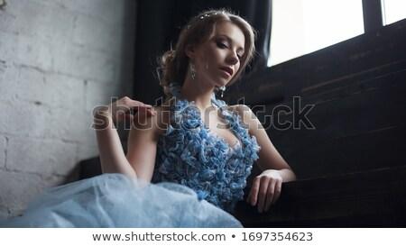 Káprázatos fiatal nő hosszú estélyi ruha erdő nő Stock fotó © amok