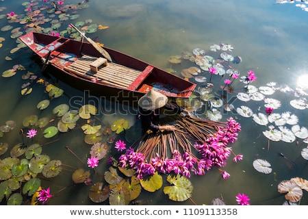 Stockfoto: Vietnamese Boats At River Ninh Binh Vietnam