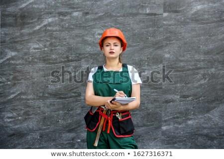Foto stock: Bastante · nina · herramienta · cinturón · blanco