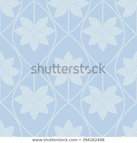 hullámos · minta · lótusz · fehér · kék · cseppek - stock fotó © tanya_ivanchuk