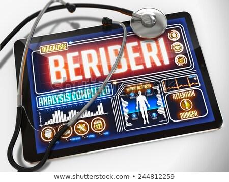 Kirakat orvosi tabletta diagnózis fekete sztetoszkóp Stock fotó © tashatuvango