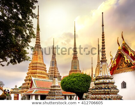 pagodas of wat pho temple in bangkok thailand stock photo © kasto