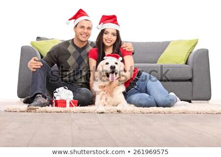 Hoeden christmas aanwezig geïsoleerd Stockfoto © peterpolak