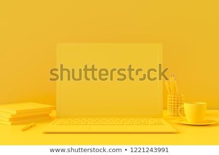 Dizüstü bilgisayar ekran 3d render beyaz bilgisayar teknoloji Stok fotoğraf © ymgerman