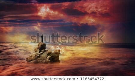 人 見える 聖なる クロス 雲 海 ストックフォト © compuinfoto