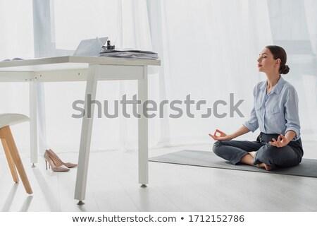 Işkadını yoga pozisyon zemin Stok fotoğraf © Flareimage