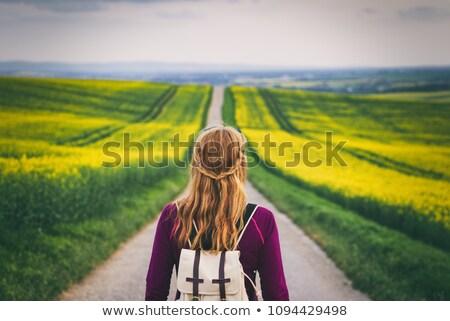 Jóvenes mujer atractiva pie carretera árboles Foto stock © dariazu