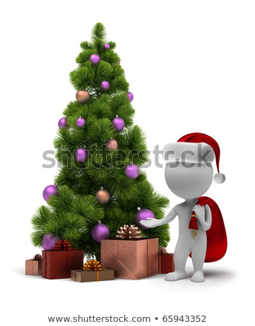3d small people   santa and a christmas tree stock photo © anatolym