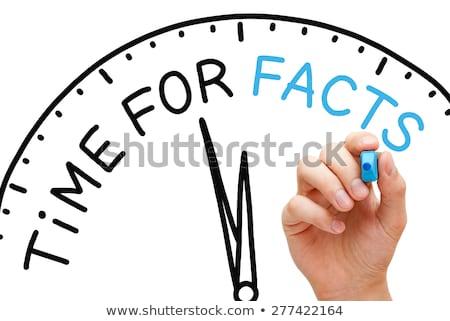 Tijd feiten hand schrijven Blauw fiche Stockfoto © ivelin