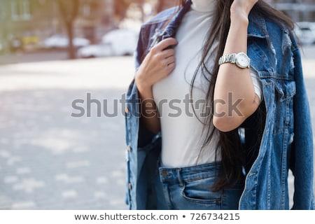 Foto stock: Attractive Woman In Denim Jacket