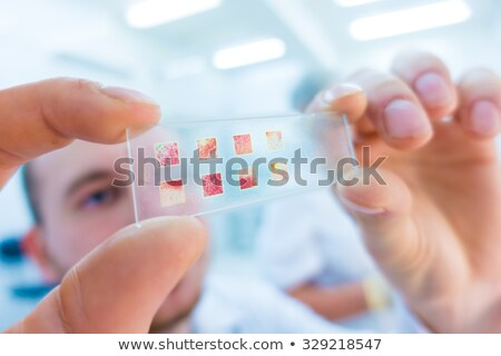 close up of scientist hand with test sample in lab Stock photo © dolgachov