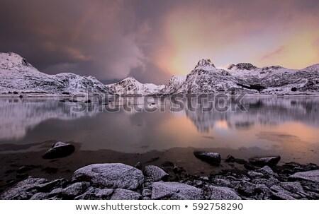 Norueguês paisagem pôr do sol montanhas fiorde luz Foto stock © Catuncia