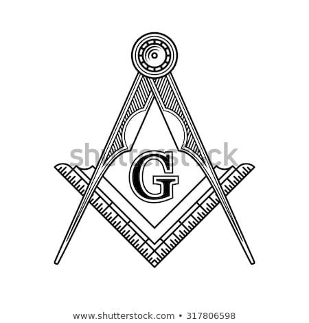 Stockfoto: Vierkante · kompas · symbool · groot · tattoo